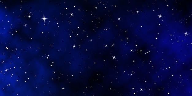 Ciel Nocturne Sombre. Fond De Couleur De Ciel étoilé. Espace Infini Avec Des étoiles Brillantes. Vecteur Premium