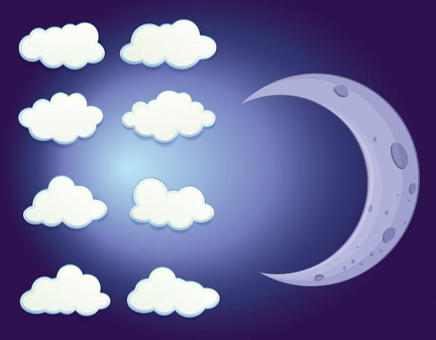 Un ciel avec des nuages et une lune Vecteur Premium