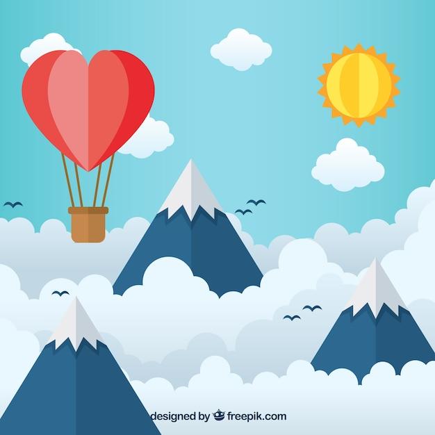 Ciel avec des nuages et des montagnes fond en texture de papier Vecteur gratuit