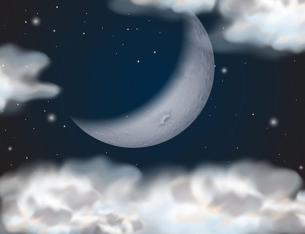 Un ciel nuageux la nuit Vecteur Premium