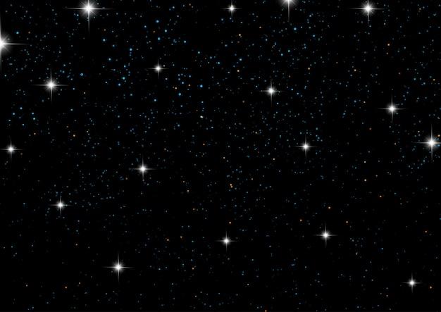 Ciel De Nuit Avec Des étoiles Vecteur gratuit