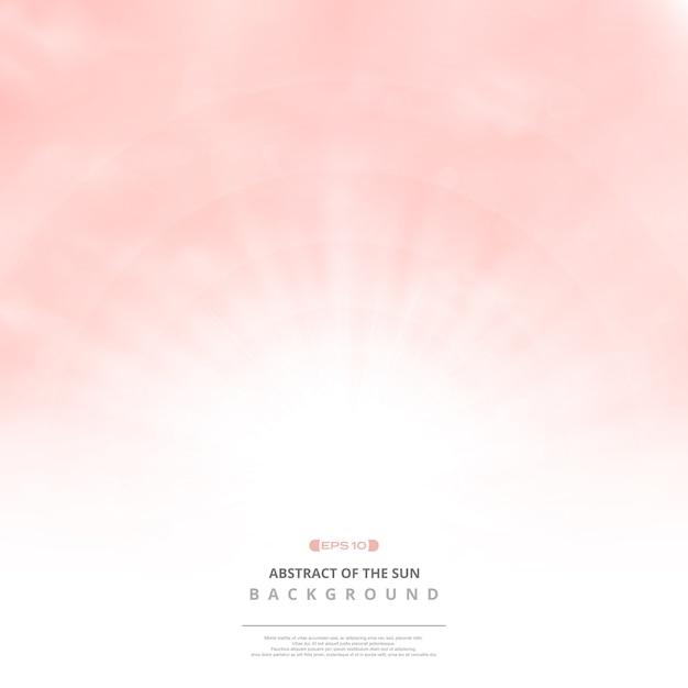 Ciel rose clair avec fond de nuages et soleil éclatent. Vecteur Premium