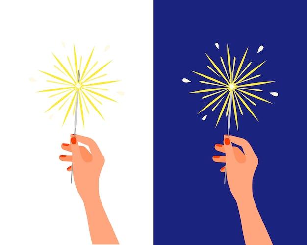 Cierge Magique Feu Du Bengale Dans La Main Féminine. Feu D'artifice D'anniversaire De Noël Nouvel An, Pyrotechnie De Vacances, Salut De Célébration Isolé Sur Fond Blanc Vecteur Premium