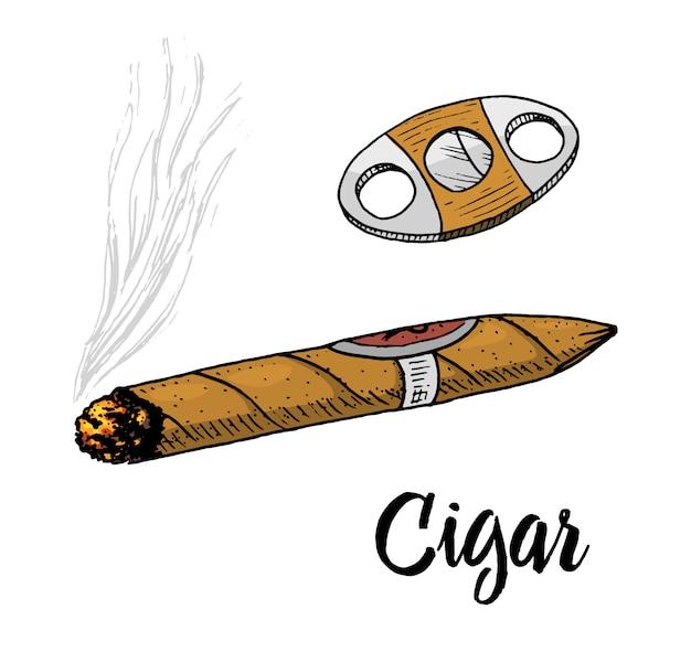 Cigare Ou Fumée, Emblème Gentleman. Mauvaise Habitude. Cigarette Classique. Gravé à La Main Dessiné Dans Le Vieux Croquis Vintage. Vecteur Premium