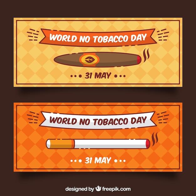 Cigarette et bannières simples Vecteur gratuit
