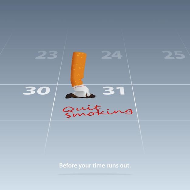 Cigarette cassée marquée date arrêtée de fumer sur le calendrier 31 mai. Vecteur Premium