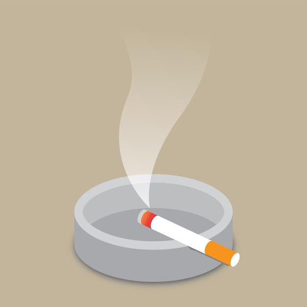 Cigarette et cendrier Vecteur Premium