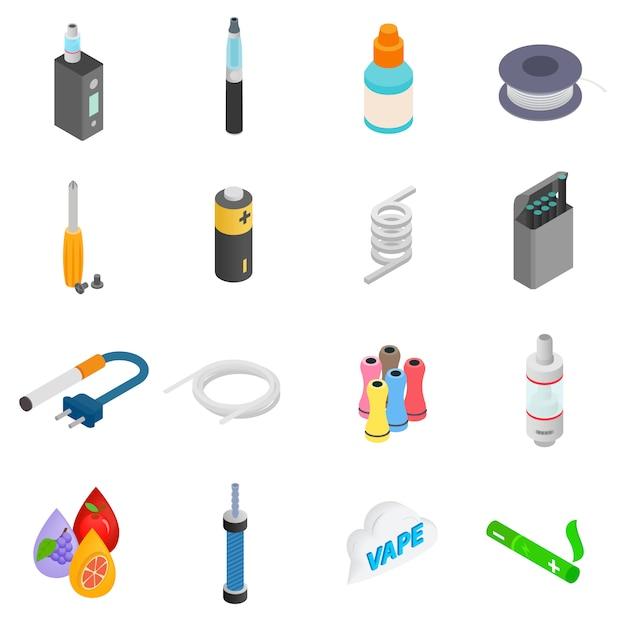 Cigarette électronique isométrique 3d icônes définies Vecteur Premium