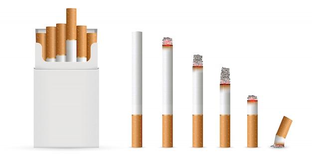 Cigarette réaliste, étapes de la brûlure. Vecteur Premium