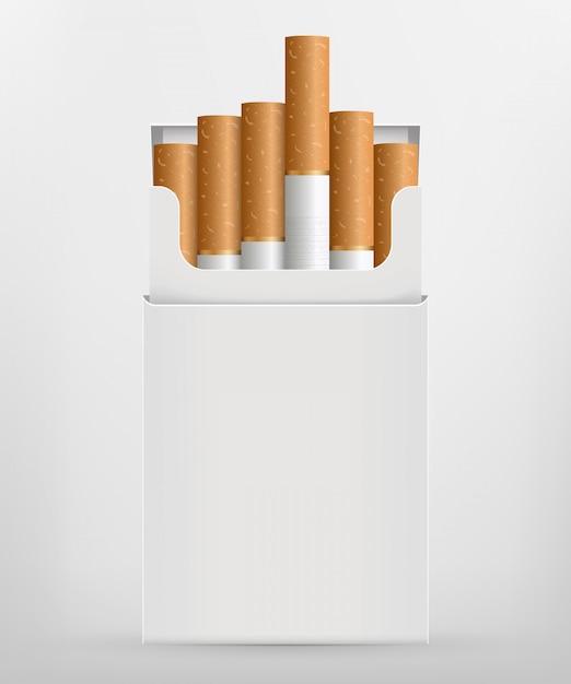 Cigarette réaliste, stades de brûlure Vecteur Premium