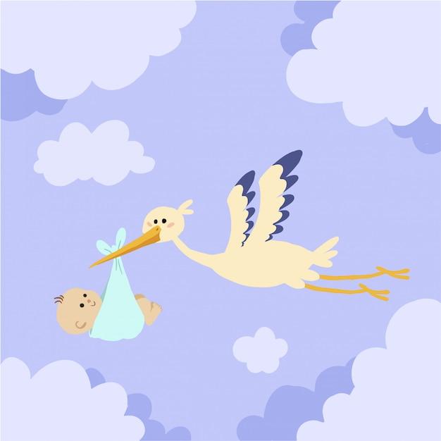 Cigogne Volant Avec Bébé Dans Le Ciel Télécharger Des
