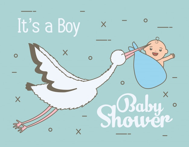 Cigogne volant avec joli bébé garçon dans un sac Vecteur gratuit