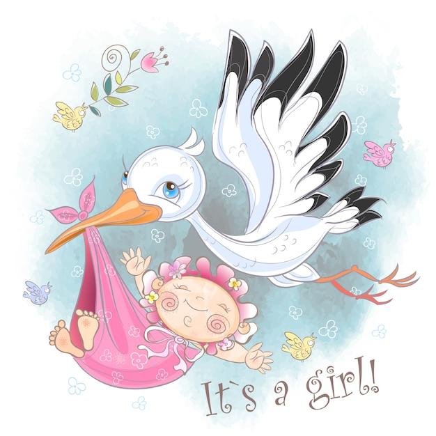 Cigogne vole avec carte bébé fille Vecteur Premium