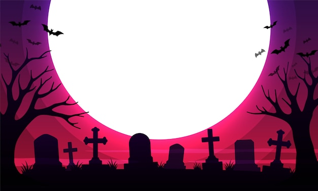 Cimetière effrayant avec des tombes et la lune Vecteur Premium