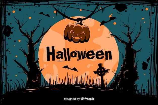 Cimetière de fond de halloween grunge sur une pleine lune Vecteur gratuit