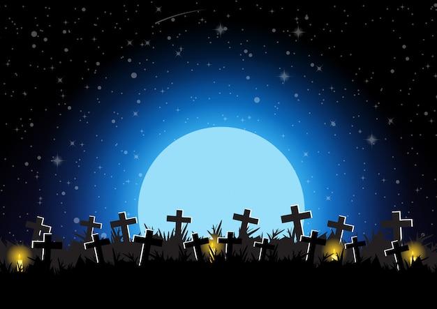 Cimetière d'halloween avec illustration vectorielle de lune fond Vecteur Premium