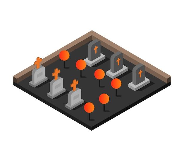 Cimetière Halloween Isométrique Vecteur gratuit