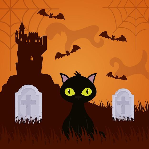 Cimetière noir d'halloween avec chat Vecteur gratuit