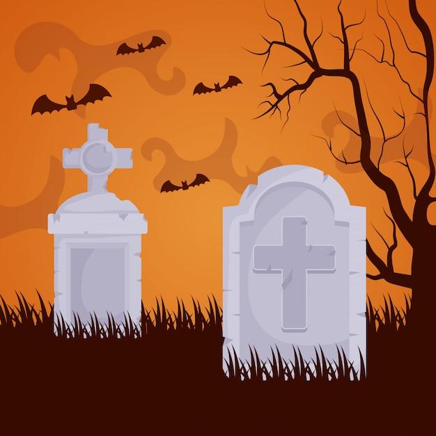 Cimetière sombre halloween Vecteur gratuit
