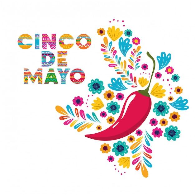 Cinco de mayo avec carte de poivrons Vecteur Premium