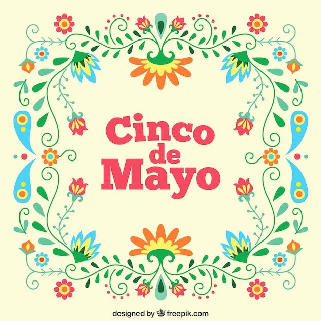 Cinco de mayo floral background Vecteur gratuit