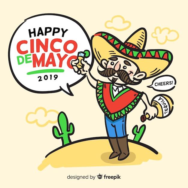 Cinco de mayo fond dessiné à la main Vecteur gratuit