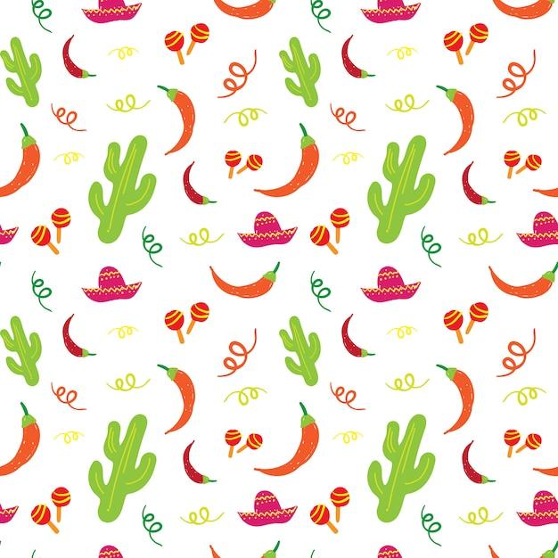 Cinco De Mayo Modèle Sans Couture De Vacances Mexicaines Avec Cactus, Sombrero, Maracas Et Piment Vecteur Premium
