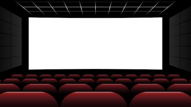 Cinéma Cinéma Avec écran Blanc Et Siège Rouge Vecteur Premium