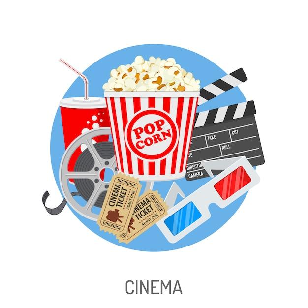 Cinéma et cinéma Vecteur Premium