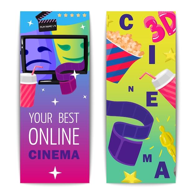 Cinéma deux bannières verticales isolées Vecteur gratuit