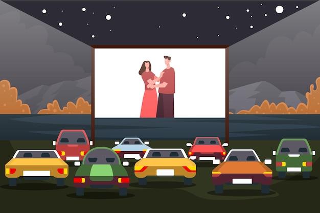 Cinéma Drive-in Vecteur gratuit