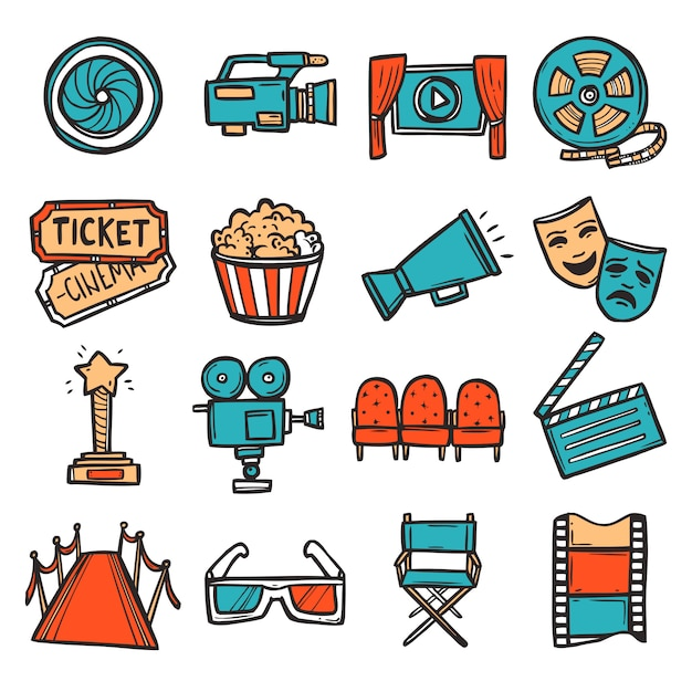 Cinema icons set color Vecteur gratuit