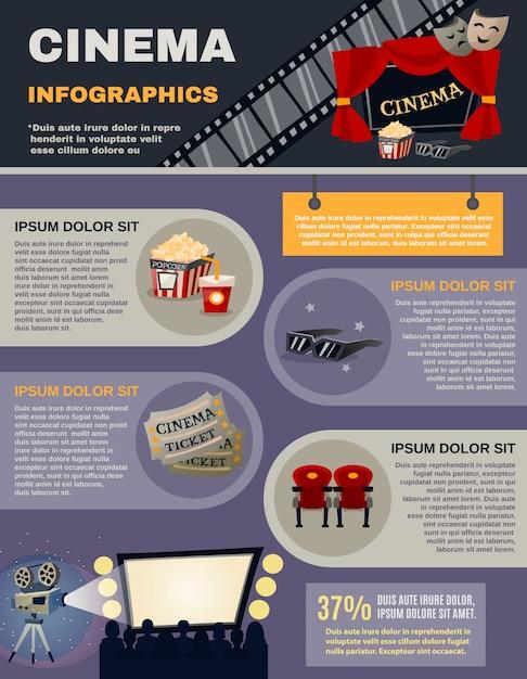 Cinéma infographie set Vecteur gratuit