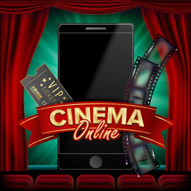 Cinéma en ligne Vecteur Premium