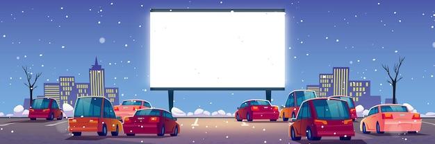 Cinéma En Plein Air, Cinéma Drive-in Avec Voitures Sur Parking Extérieur En Hiver. Vecteur gratuit