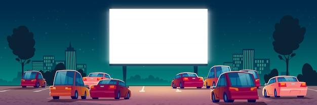 Cinéma En Plein Air, Cinéma Drive-in Avec Des Voitures Vecteur gratuit