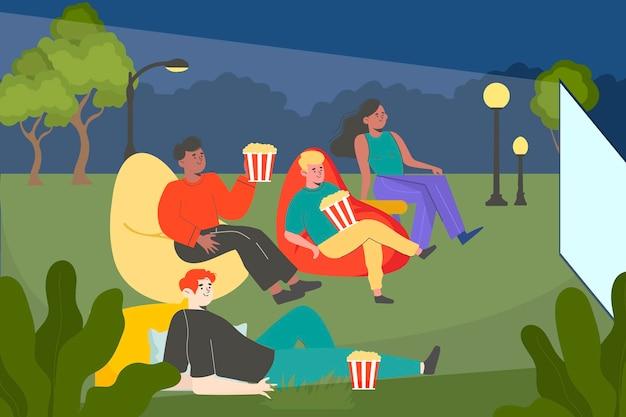 Cinéma En Plein Air Design Plat Vecteur gratuit