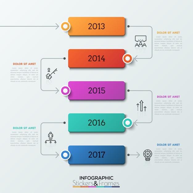 Cinq éléments Rectangulaires Avec Indication De L'année à L'intérieur Successivement Reliés Par Des Flèches. Vecteur Premium