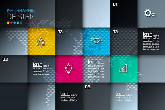 Cinq étiquettes carrées avec infographie icône affaires. Vecteur Premium