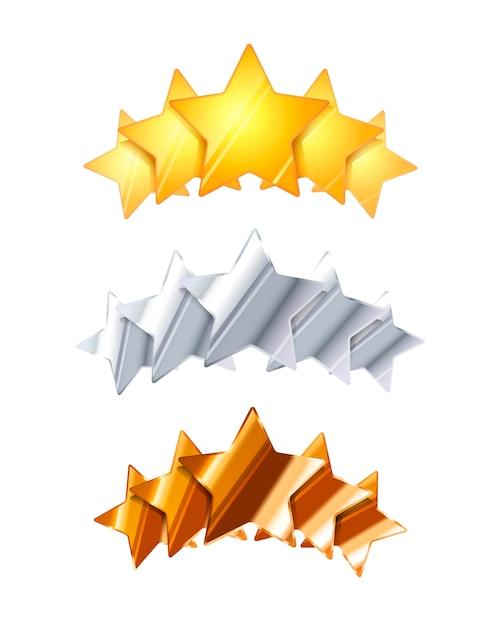 Cinq étoiles brillantes dorées, argentées et bronze Vecteur Premium