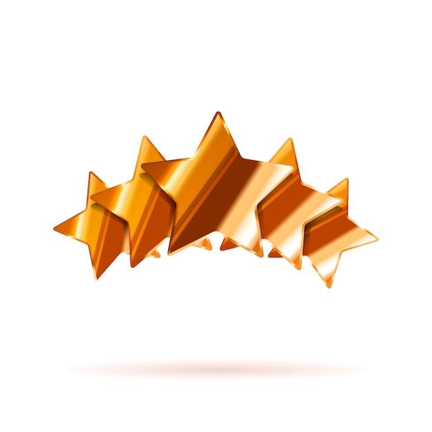 Cinq étoiles de classement en bronze brillant avec ombre isolée Vecteur Premium