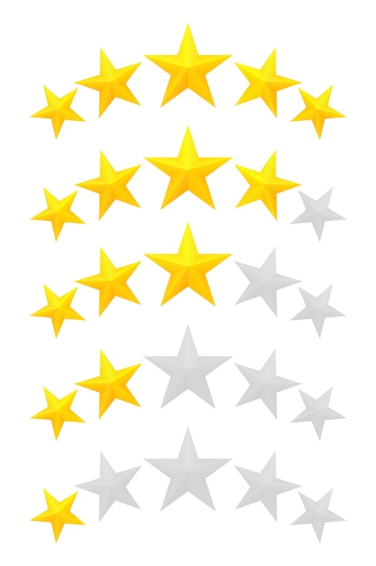 Cinq étoiles. différents rangs d'une à cinq étoiles. etoiles dorées en relief et transparentes grises. Vecteur Premium