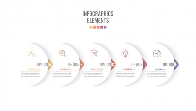Cinq flèches blanches se chevauchant placées dans une rangée horizontale. concept de 5 successives. pour le contenu, le diagramme, l'organigramme, les étapes, les pièces, les infographies de scénario, la structure de flux de travail, le graphique Vecteur Premium
