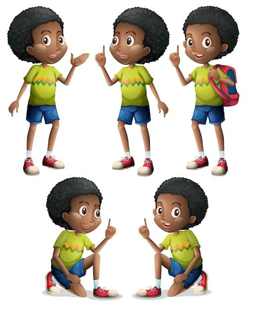 Cinq garçons noirs Vecteur gratuit