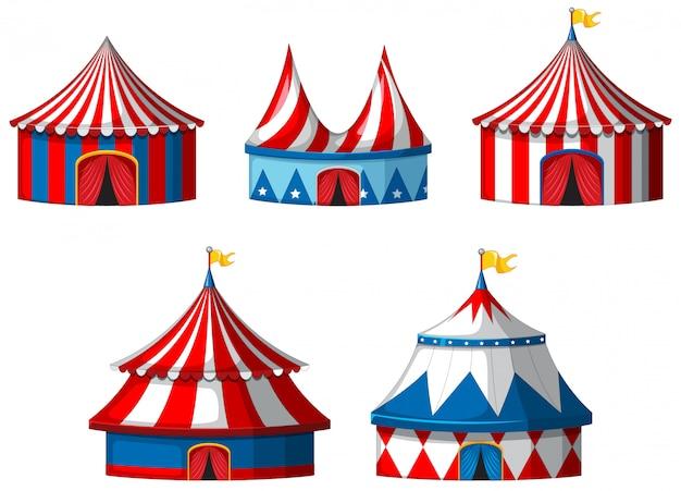 Cinq Tentes De Cirque Sur Blanc Vecteur gratuit