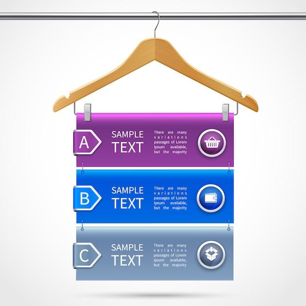 Cintre en bois de vêtements infographie avec description sur illustration vectorielle 3d isolé tube Vecteur Premium