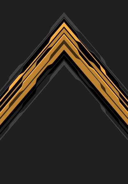 Circuit de flèche noire jaune sur fond gris d'espace vide. Vecteur Premium