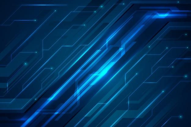 Circuits De Tons Bleus Fond Futuriste Vecteur gratuit