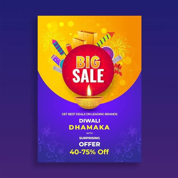 Circulaire de vente diwali Vecteur Premium