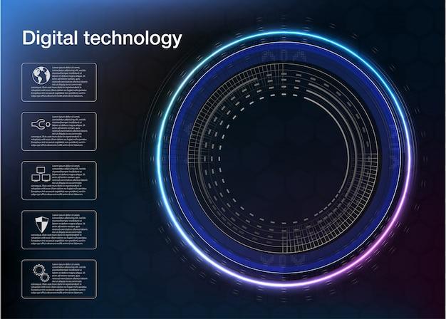 Circulation de flux de données tourbillon spirale, néon, sombre, ultraviolets, abstrait. Vecteur Premium